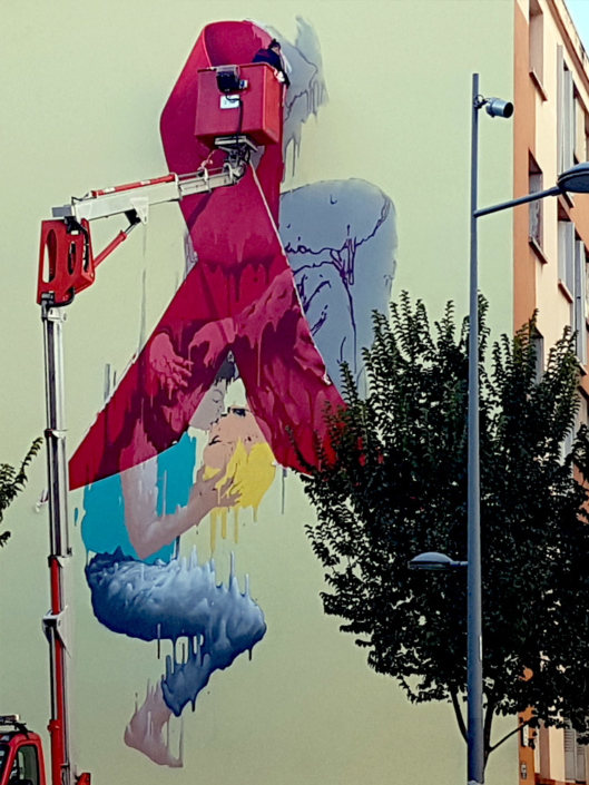 Brusk sur le Mur69, campagne (RED), Paint red save lives